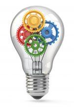Light  bulb and gears. Perpetuum mobile idea concept. 3d